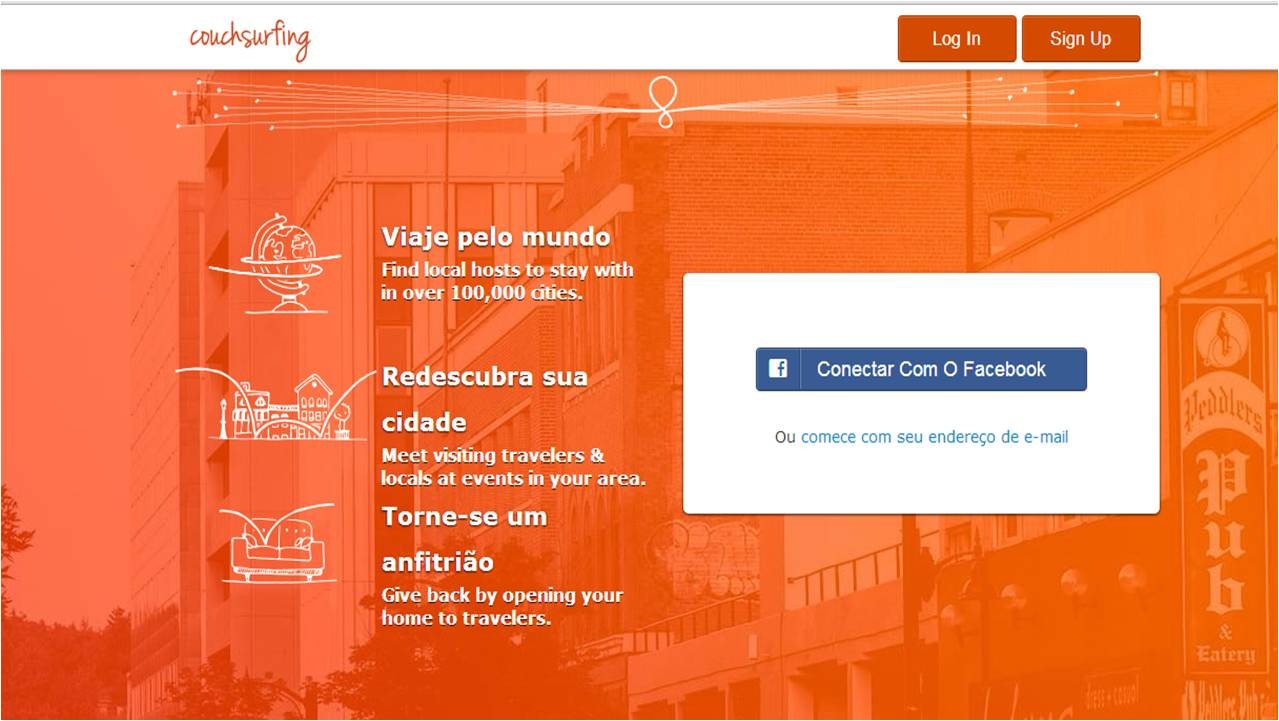 Site do Couchsurfing alojamento barato