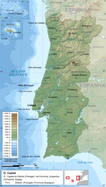 Mapa Topográfico de Portugal