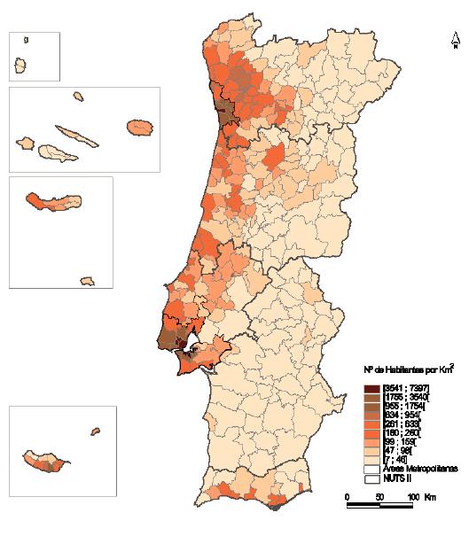 Densidade populacional Portugal