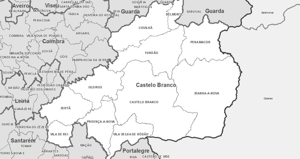 Mapa de Portugal - Distrito de Castelo Branco