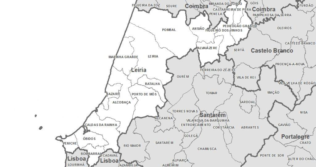Mapas de Portugal - Distrito de Leiria