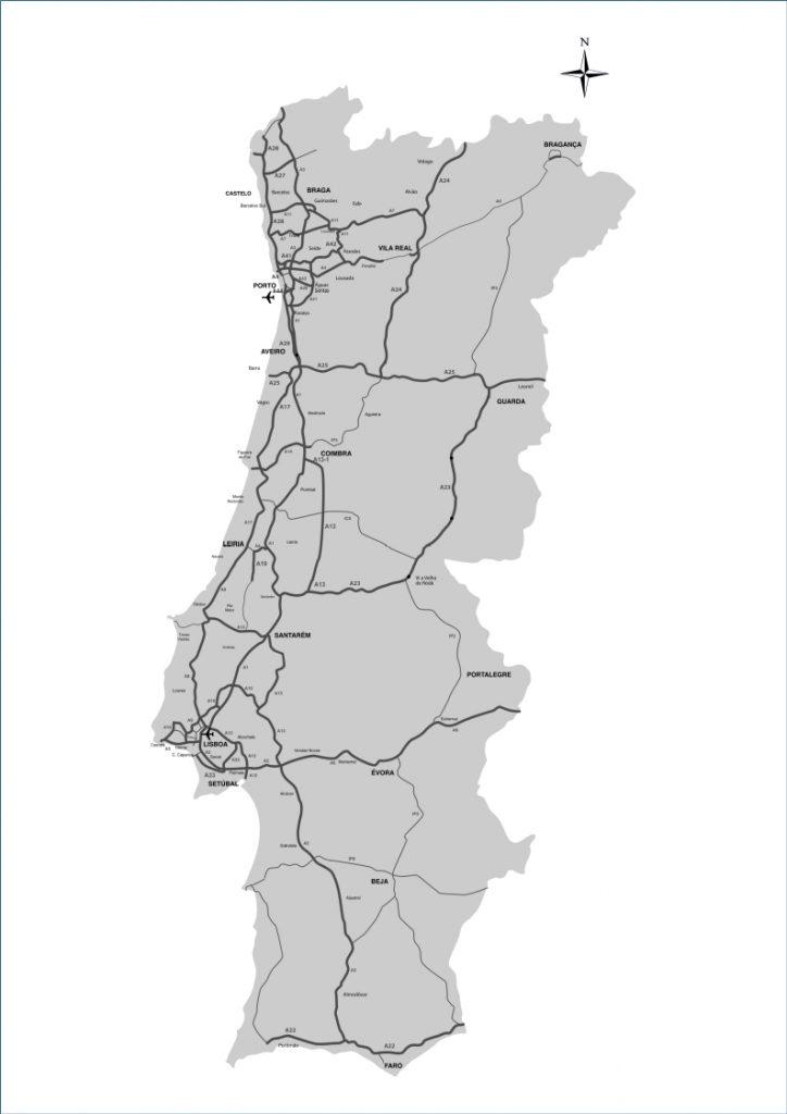 Mapa de Estradas Portugal