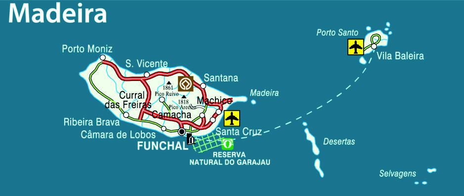 Mapa da Ilha da Madeira