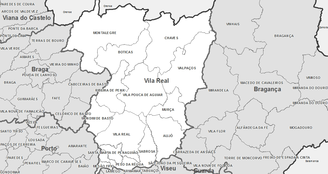Mapa De Portugal Distrito De Vila Real Espirito Viajante