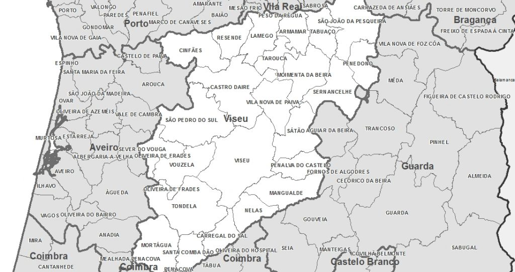 Mapa de Portugal Distrito de Viseu