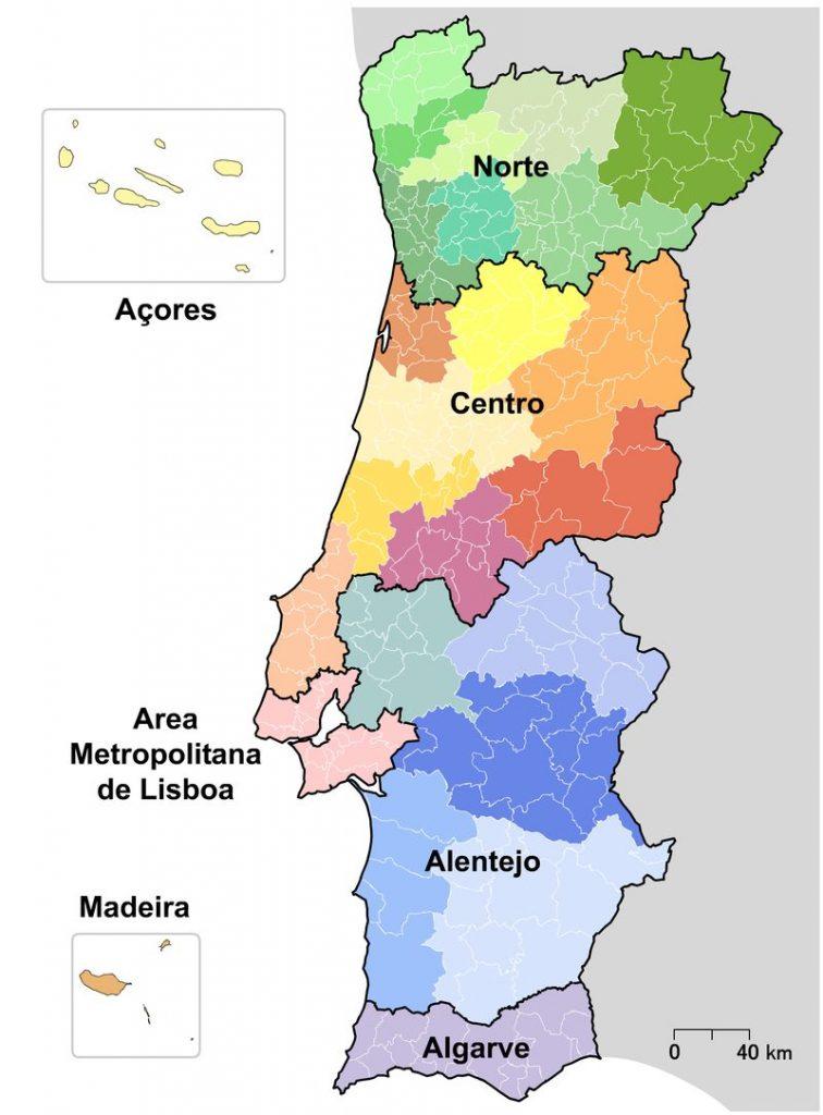 Mapa de Portugal NUTS