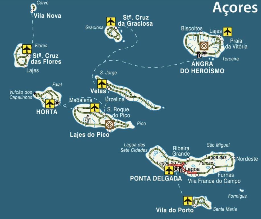 Mapa Dos Acores 1 Espirito Viajante