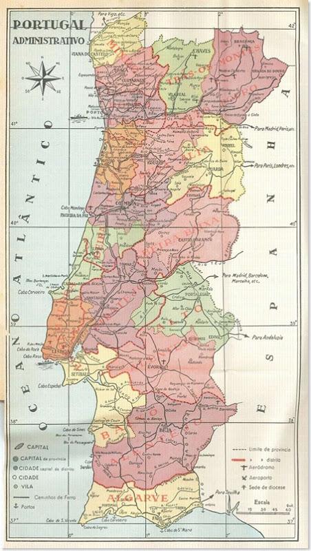 Mapa de Portugal - Províncias